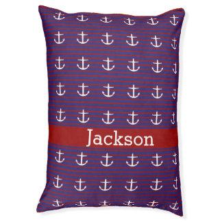 赤いおよび青い縞の航海ので白いいかり ペットベッド