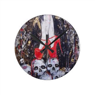 赤いかかと ラウンド壁時計