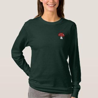赤いきのこによって刺繍される長袖のTシャツ 刺繍入り長袖Tシャツ