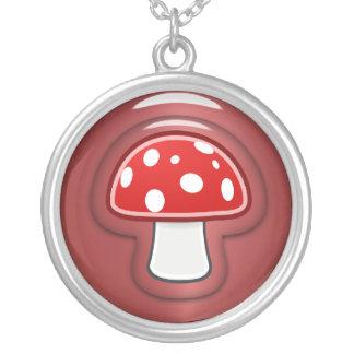 赤いきのこ シルバープレートネックレス