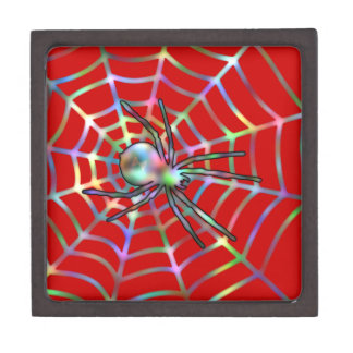 赤いくもおよび蜘蛛の巣ハロウィン ギフトボックス