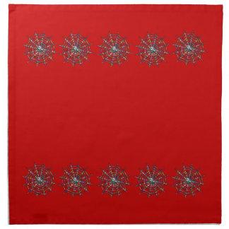 赤いくもおよび蜘蛛の巣ハロウィン ナプキンクロス