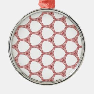 赤いくもの巣のスネークスキンパターンデザイン メタルオーナメント