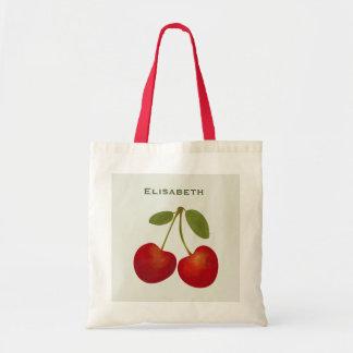赤いさくらんぼのフルーツは名前を個人化します トートバッグ