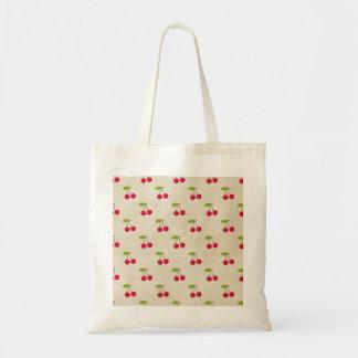 赤いさくらんぼの小さいさくらんぼのプリントの素朴なヴィンテージ トートバッグ