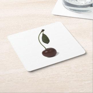 赤いさくらんぼの果実 スクエアペーパーコースター