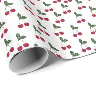 赤いさくらんぼパターン包装紙 ラッピングペーパー