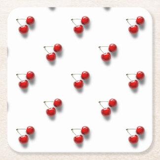 赤いさくらんぼ スクエアペーパーコースター