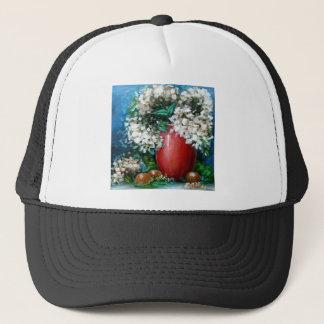 赤いつぼのデザインの白いアジサイ キャップ