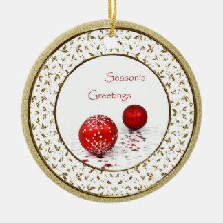 赤いつまらないものの金ゴールドのヒイラギの華麗さのクリスマスのオーナメント セラミックオーナメント