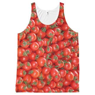 赤いつる植物のトマト オールオーバープリントタンクトップ
