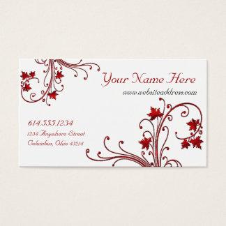 赤いつる植物またはカエデの葉のデザインの名刺 名刺