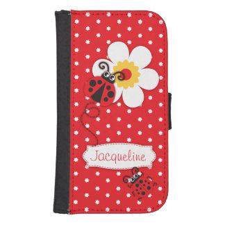 赤いてんとう虫のポルカのフラワー・ガールのiPhoneの折り返しの箱 手帳型 Galaxy S4ケース