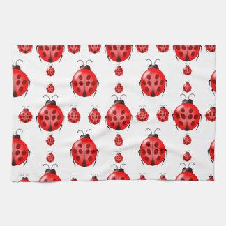 赤いてんとう虫パターン キッチンタオル