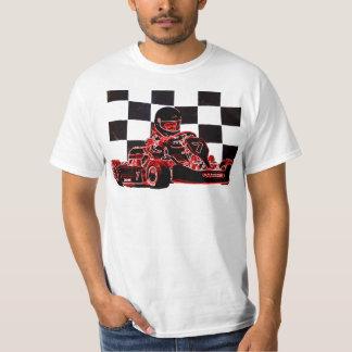 赤いですかチェック模様の旗を競争させるKart Tシャツ