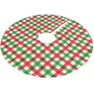 赤いですか緑クリスマスの点検の木のスカートか白 ブラッシュドポリエステルツリースカート