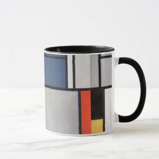赤いのモンドリアンの構成、青い、黄色黒い マグカップ