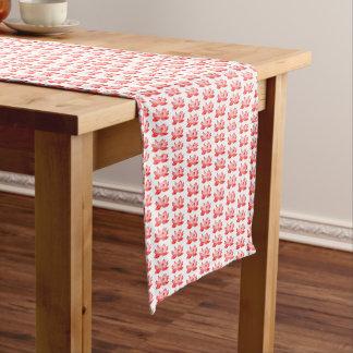 赤いはすパターンテーブルのランナー ショートテーブルランナー