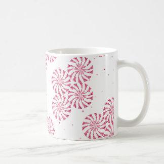 赤いはっか菓子のクリスマスの菓子パターン コーヒーマグカップ