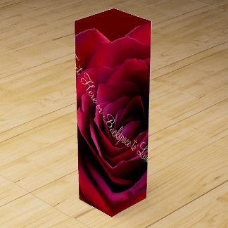 赤いばら色ワイン箱の名前入りでロマンチックなばら色箱 ワイン ギフト包装