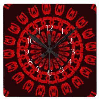 赤いやり スクエア壁時計
