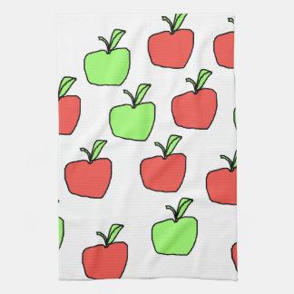 赤いりんごおよび緑のりんごパターン キッチンタオル