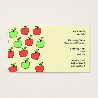赤いりんごおよび緑のりんご、クリームのパターン、 名刺