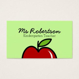 赤いりんごとの先生の名刺のテンプレート 名刺