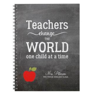 赤いりんごの引用文およびあなたの文字の黒板の先生 ノートブック