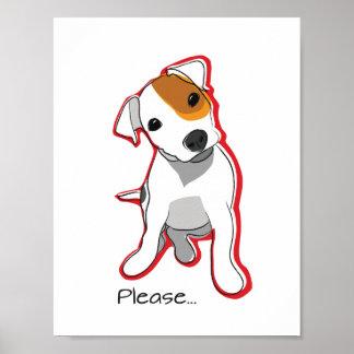 赤いアクセントのかわいいジャックラッセルの子犬ポスター ポスター