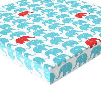 赤いアクセントの象パターン キャンバスプリント