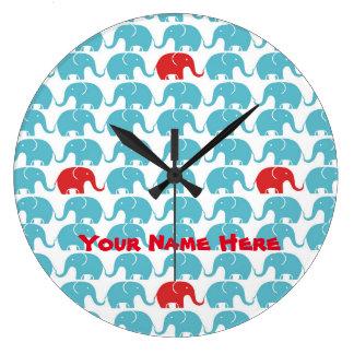 赤いアクセントの象パターン ラージ壁時計