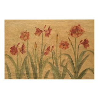 赤いアマリリスの列 ウッドウォールアート