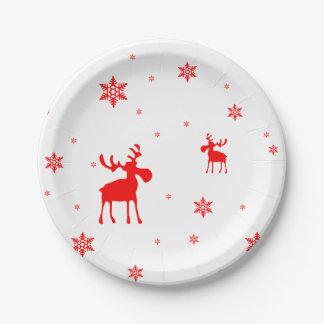 赤いアメリカヘラジカおよび赤い雪片-紙皿 ペーパープレート
