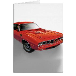 赤いアメリカ筋肉車 グリーティングカード