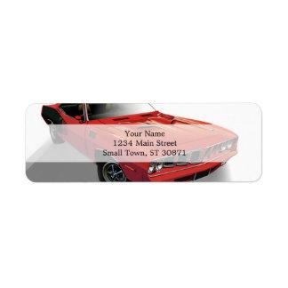 赤いアメリカ筋肉車 ラベル