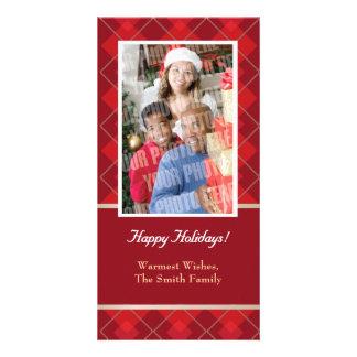 赤いアーガイルの独身のな写真 カード