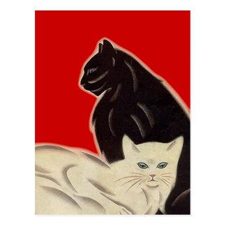 赤いアールデコのスタイルの郵便はがきの黒く及び白い猫 ポストカード