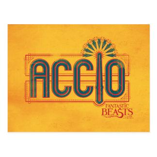 赤いアールデコのAccioの綴りのグラフィック ポストカード