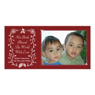 赤いイエス・キリストの誕生のキリスト教のクリスマスの写真カード カード
