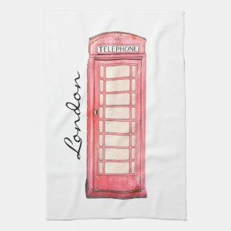 赤いイギリスの公衆電話ボックス-台所タオル お手拭タオル