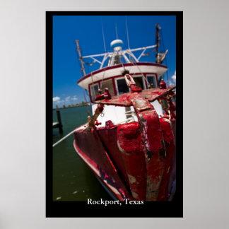 赤いエビのボート ポスター