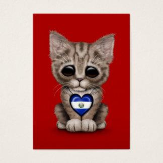 赤いエルサルバドルのハートのかわいい子ネコ猫 名刺