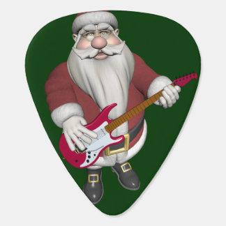 赤いエレキギターが付いているロックスターサンタ ギターピック