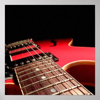 赤いエレキギターの写真-個人化して下さい ポスター