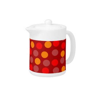 赤いオレンジ水玉模様の小さいティーポット