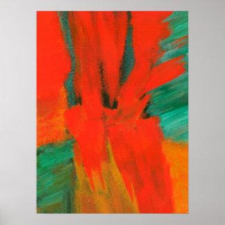 赤いオレンジ緑金ゴールドを絵を描く抽象美術 ポスター