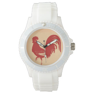 赤いオンドリの腕時計 腕時計
