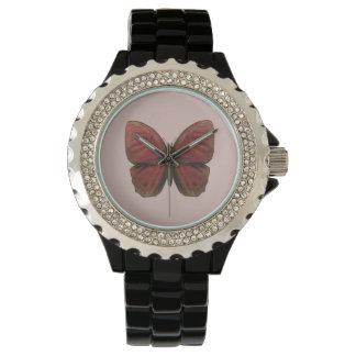 赤いオンドリの蝶 腕時計