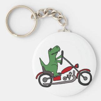 赤いオートバイのおもしろいなTレックスの恐竜 キーホルダー